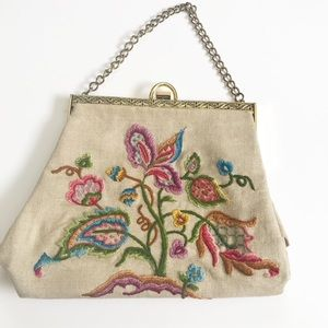 Vintage 1940s Embroidered Floral Purse